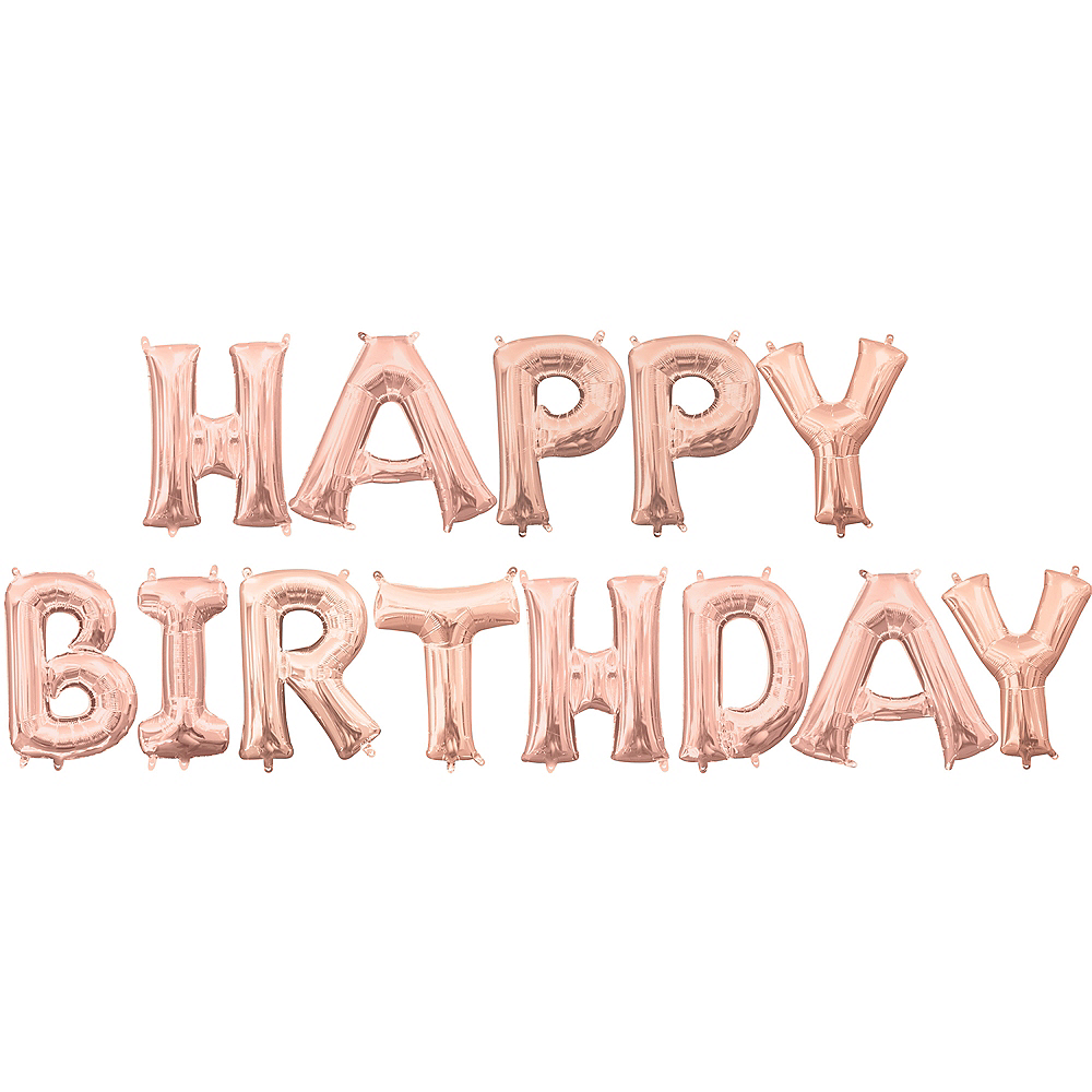 13in Air-Filled Rose Gold Happy Birthday Balloon Kit Image #1