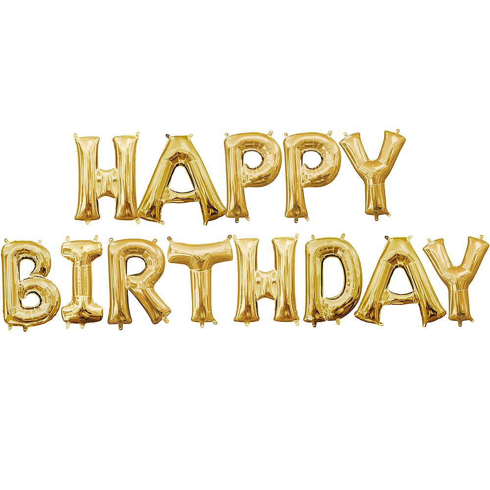 13in Air-Filled Gold Happy Birthday Balloon Kit Image #1