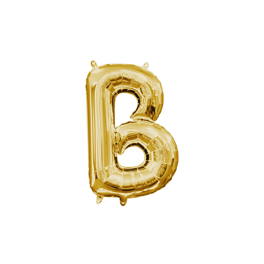 13in Air-Filled Gold Happy Birthday Balloon Kit Image #2