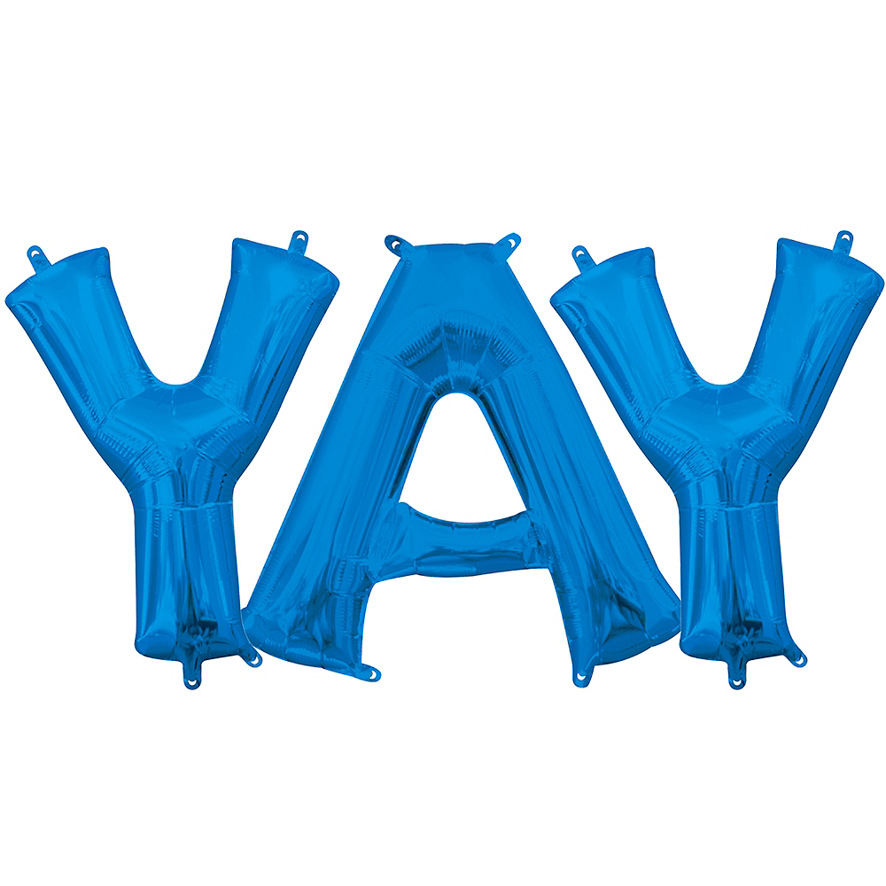 13in Air-Filled Blue Yay Balloon Kit Image #1