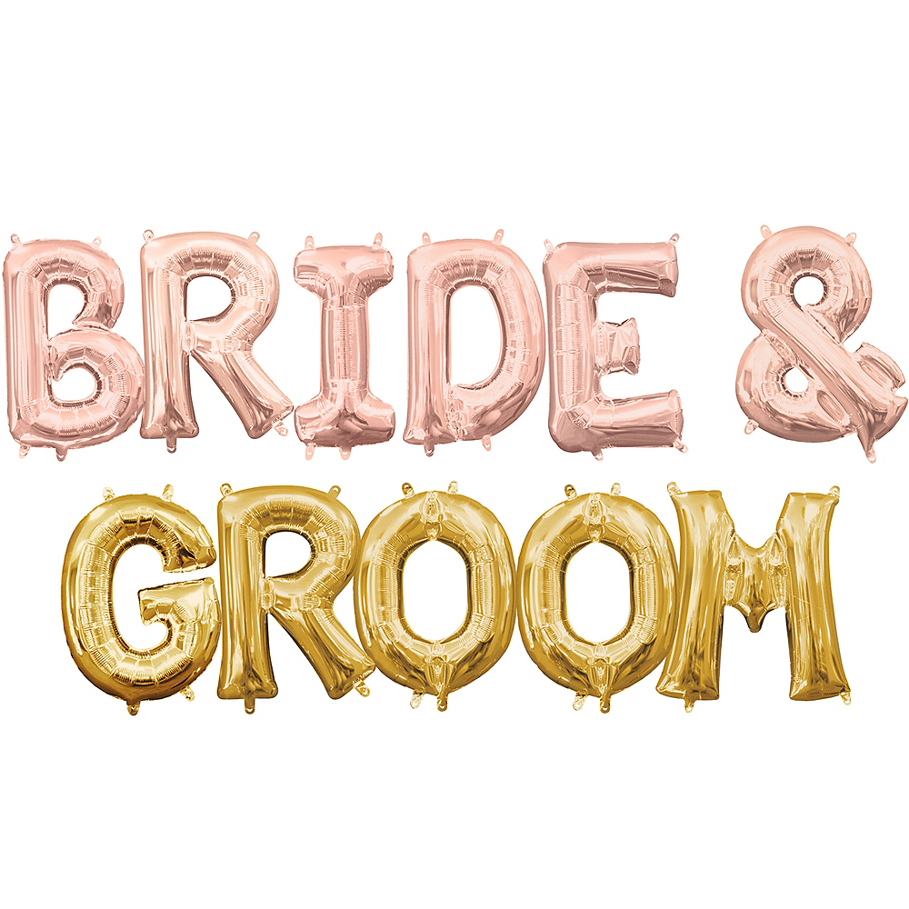 Air-Filled Rose Gold & Gold Bride & Groom Balloon Kit Image #1