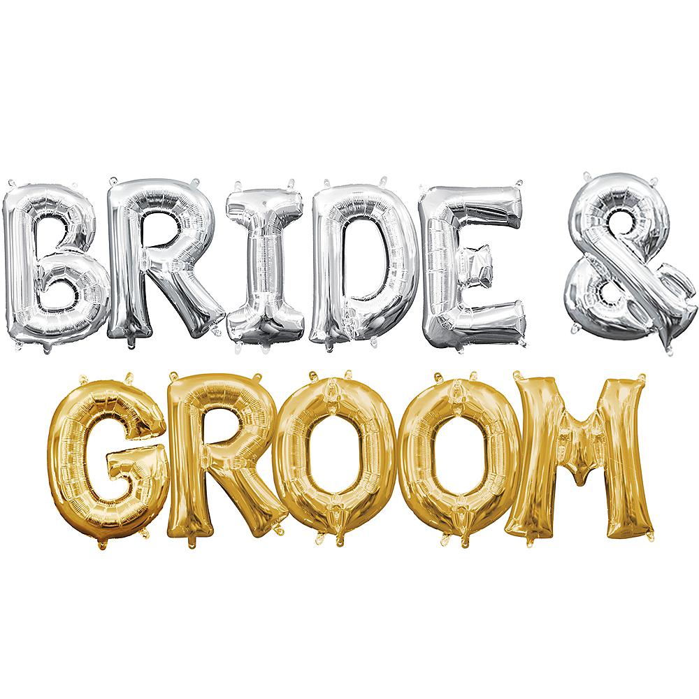 Air-Filled Silver & Gold Bride & Groom Balloon Kit Image #1