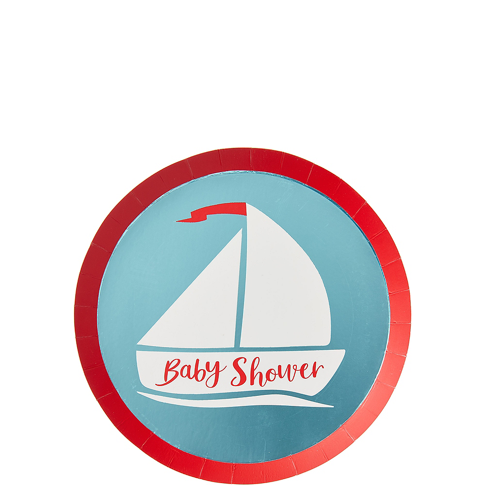 Ginger Ray Nautical Baby Shower Dessert Plates 8ct Image #1