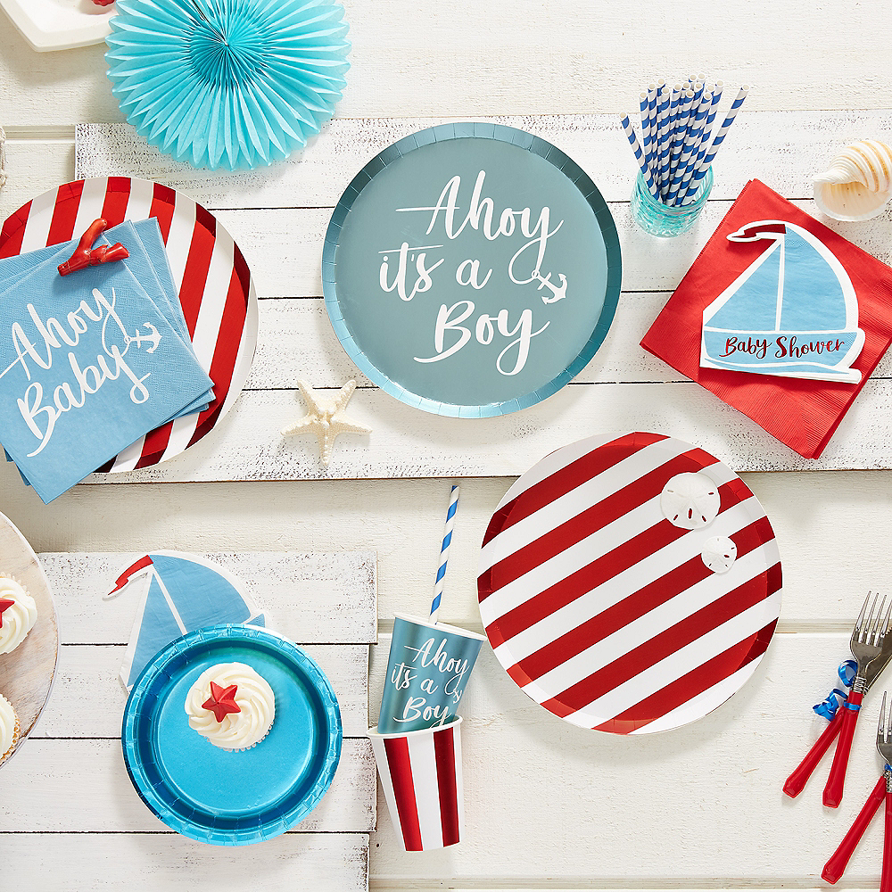 Ginger Ray Nautical Baby Shower Lunch Plates 8ct Image #2