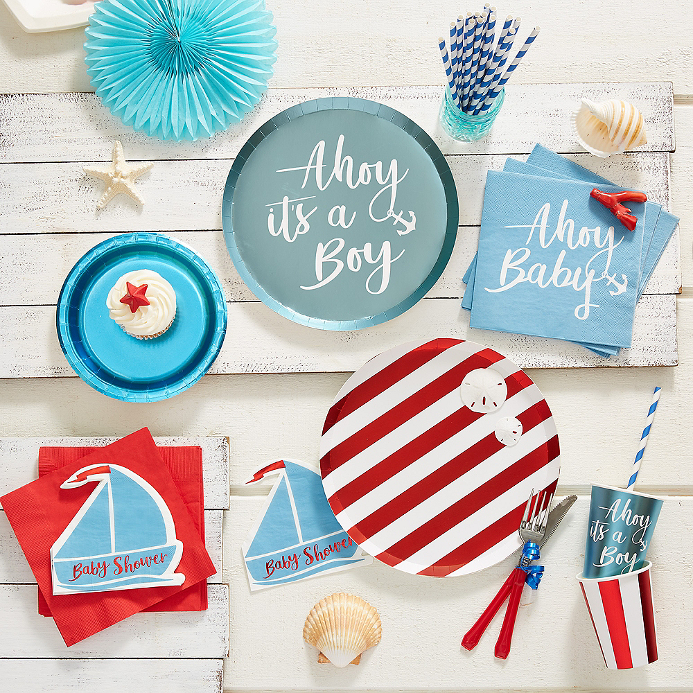 Ginger Ray Nautical Baby Shower Lunch Plates 8ct Image #3