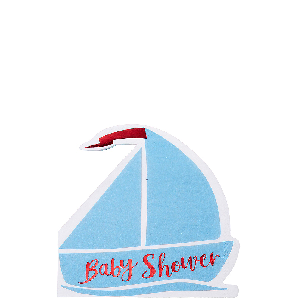 Ginger Ray Nautical Baby Shower Beverage Napkins 16ct Image #1