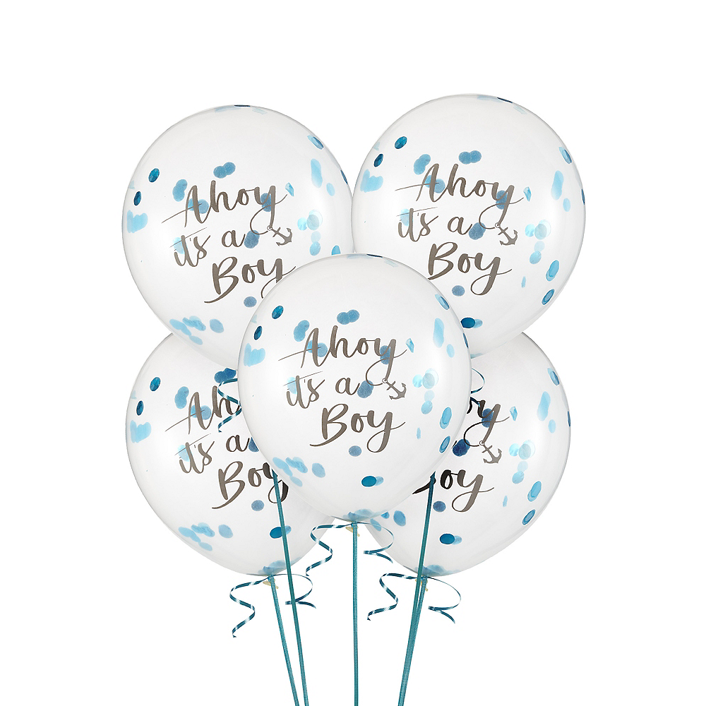 Ginger Ray Nautical Baby Shower Confetti Balloons 5ct Image #1