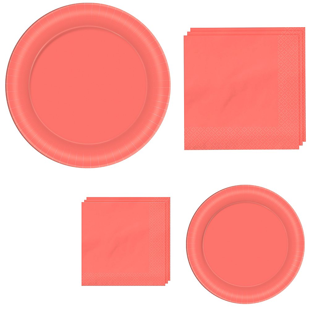 Bright Coral Tableware Kit for 40 Guests Image #1