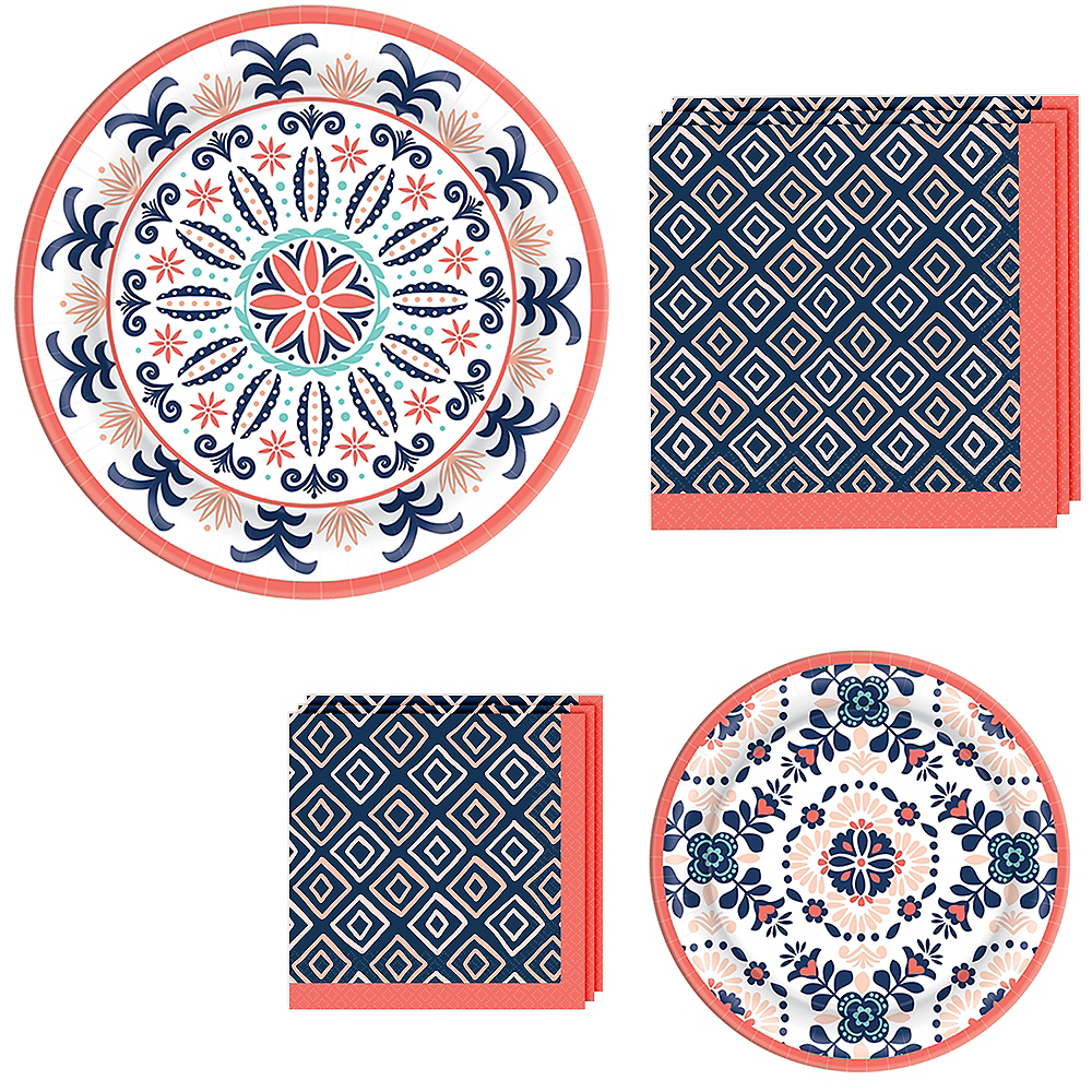 Bright Coral Diamond & Tile Tableware Kit for 16 Guests Image #1