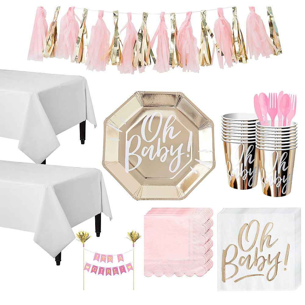 Gold & Pink Oh Baby Baby Shower Tableware Kit for 16 Guests Image #1