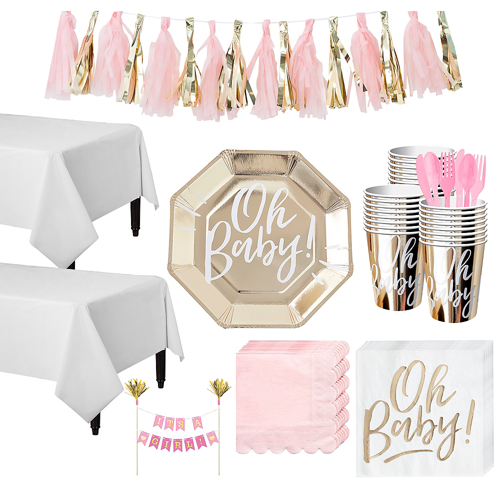 Gold & Pink Oh Baby Baby Shower Tableware Kit for 32 Guests Image #1
