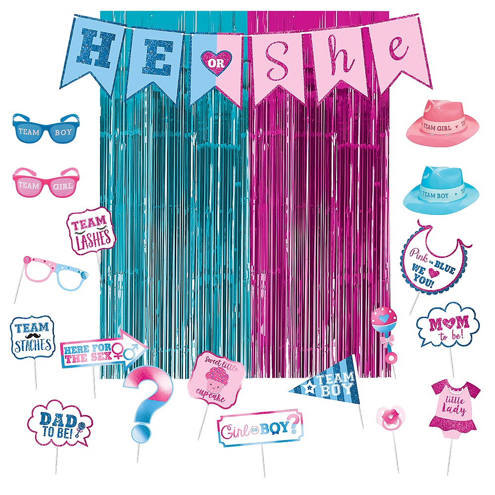 Girl or Boy Gender Reveal Party Photo Booth Kit Image #1