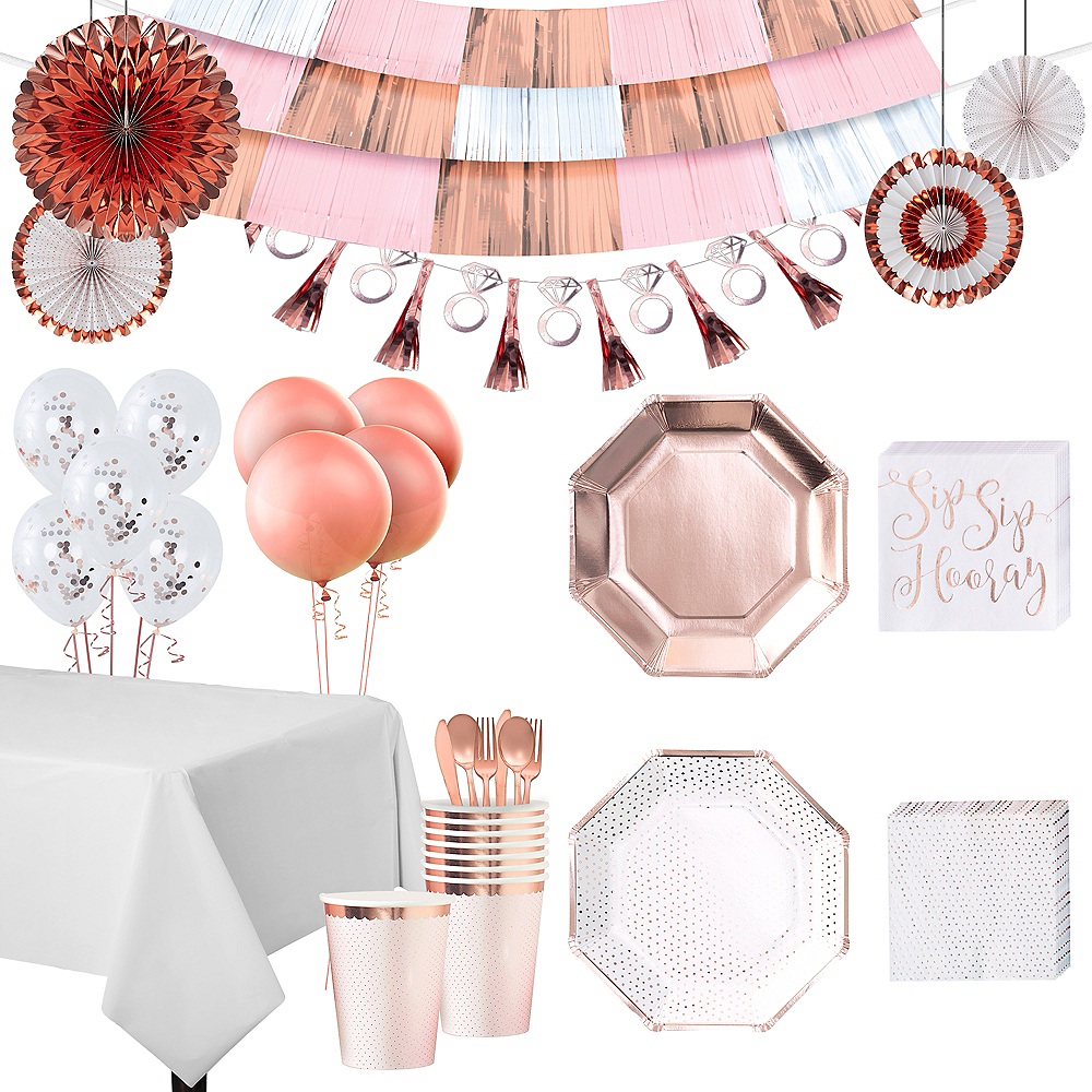 Nav Item for Super Rose Gold Bridal Shower Party Kit for 32 Guests Image #1