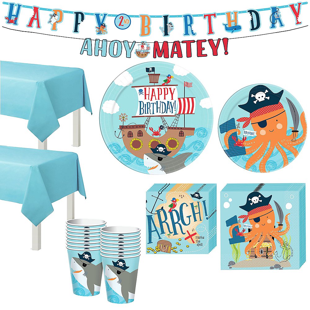 Nav Item For Pirate Shark 1st Birthday Tableware Kit 18 Guests Image 1
