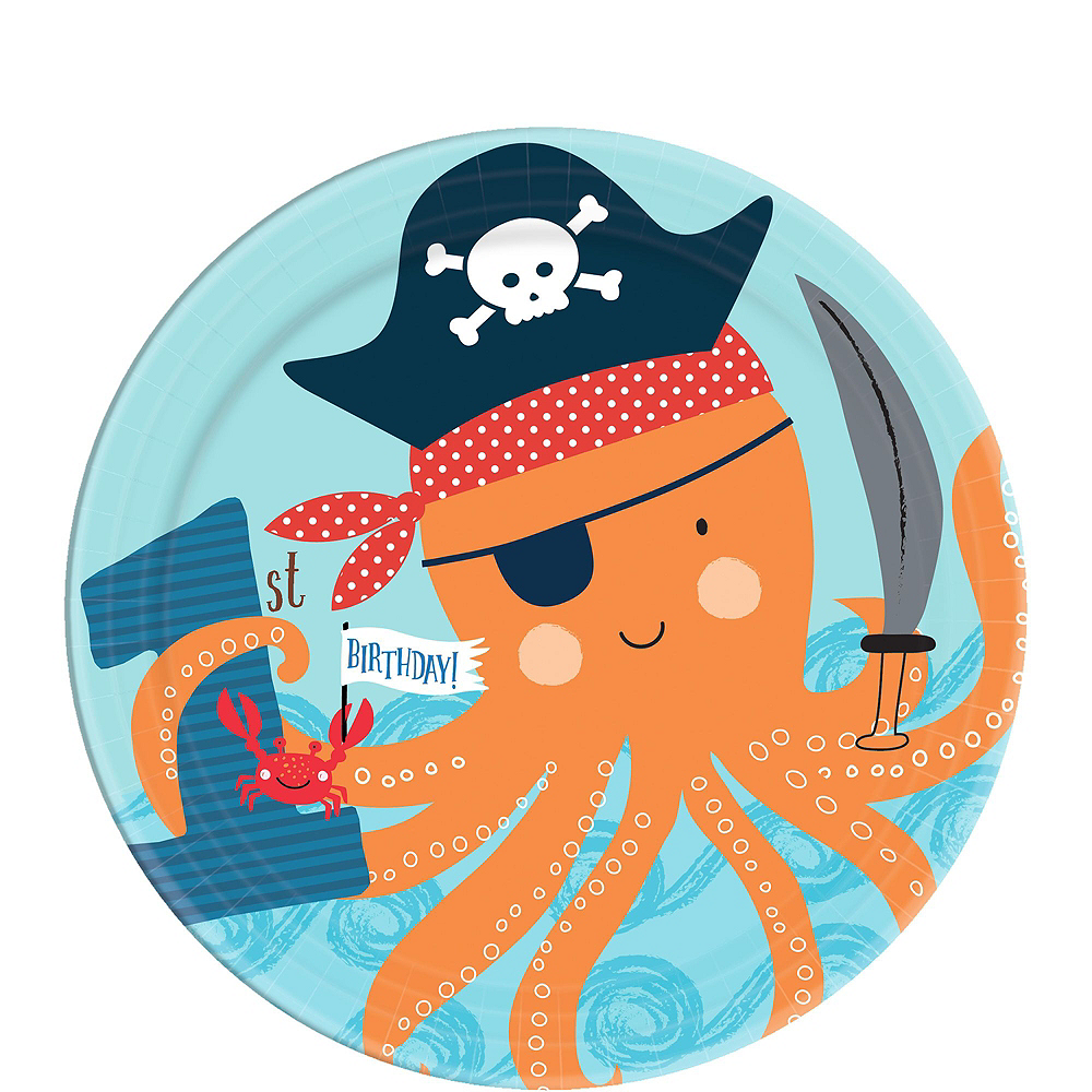 Pirate Shark 1st Birthday Tableware Kit for 18 Guests Image #2
