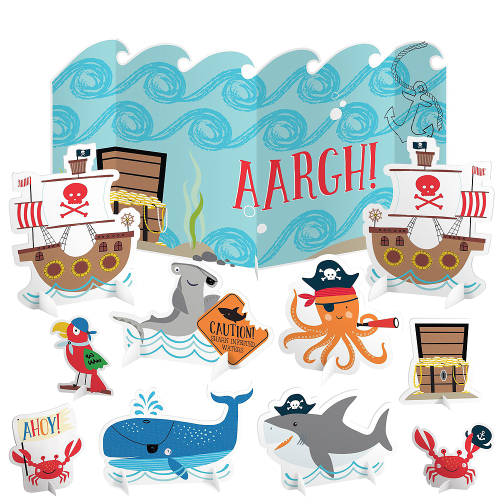 Pirate Shark 1st Birthday Tableware Kit for 18 Guests Image #10
