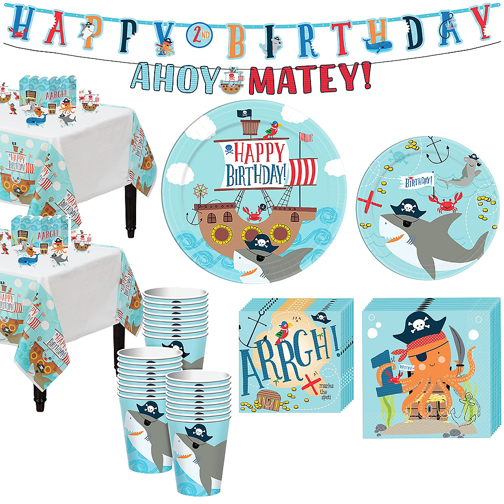 Pirate Shark 1st Birthday Tableware Kit for 36 Guests Image #1