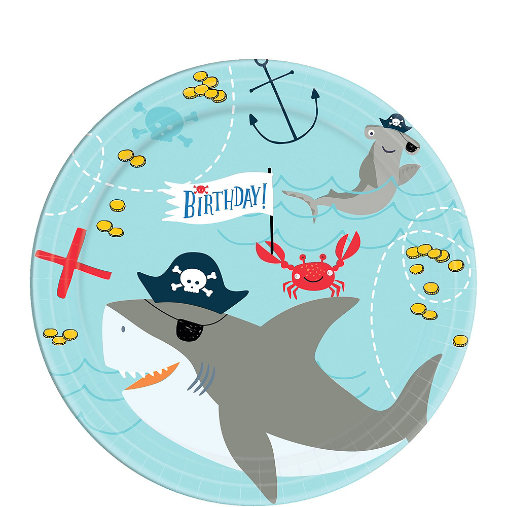 Pirate Shark 1st Birthday Tableware Kit for 36 Guests Image #2