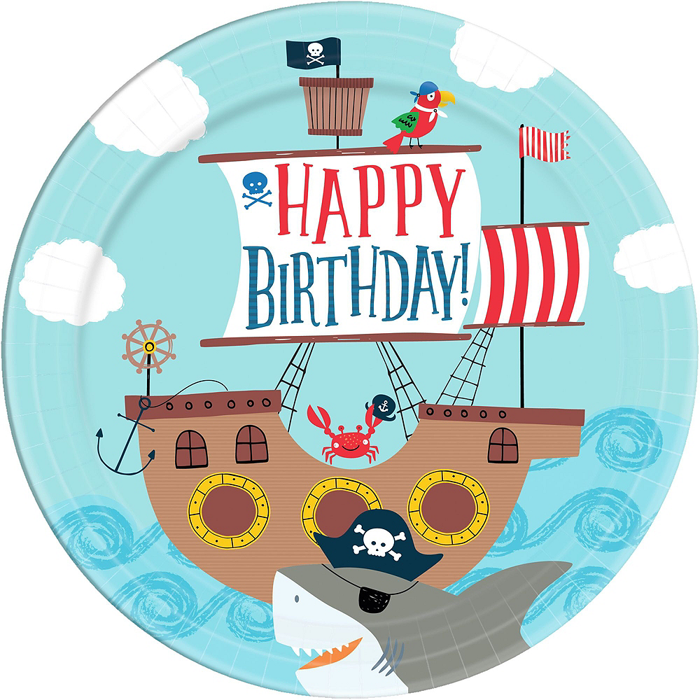 Pirate Shark 1st Birthday Tableware Kit for 36 Guests Image #3