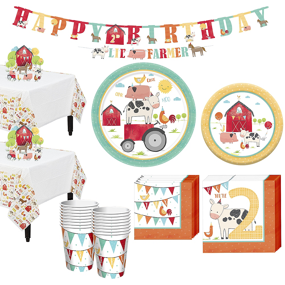 Friendly Farm 2nd Birthday Tableware Kit for 18 Guests Image #1