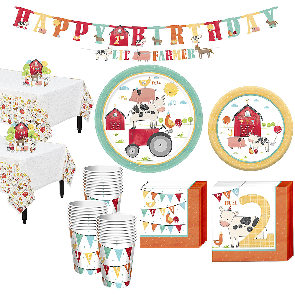 Friendly Farm 2nd Birthday Tableware Kit for 36 Guests Image #1