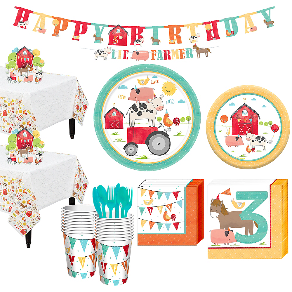 Friendly Farm 3rd Birthday Tableware Kit for 18 Guests Image #1