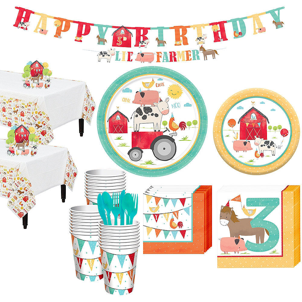 Friendly Farm 3rd Birthday Tableware Kit for 36 Guests Image #1