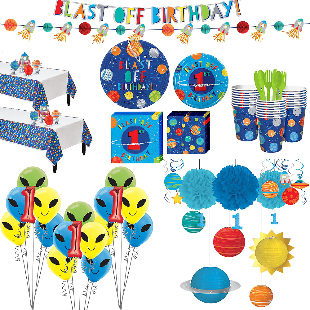 Super Blast Off 1st Birthday Party Kit for 32 Guests Image #1