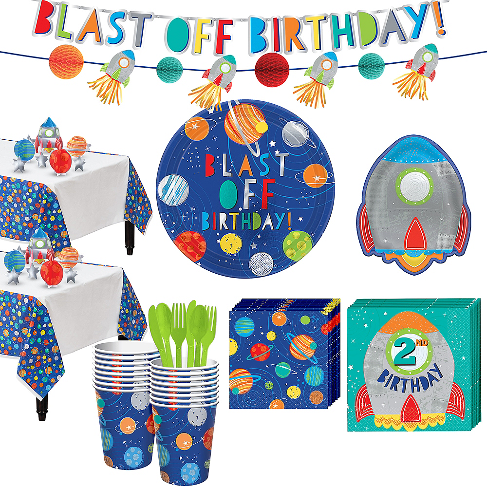 Blast Off 2nd Birthday Party Kit for 16 Guests Image #1
