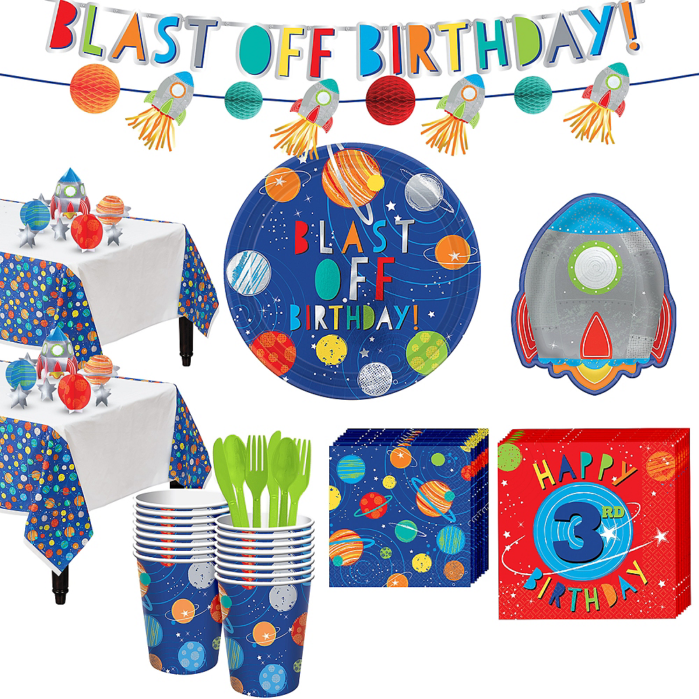 Blast Off 3rd Birthday Party Kit for 16 Guests Image #1
