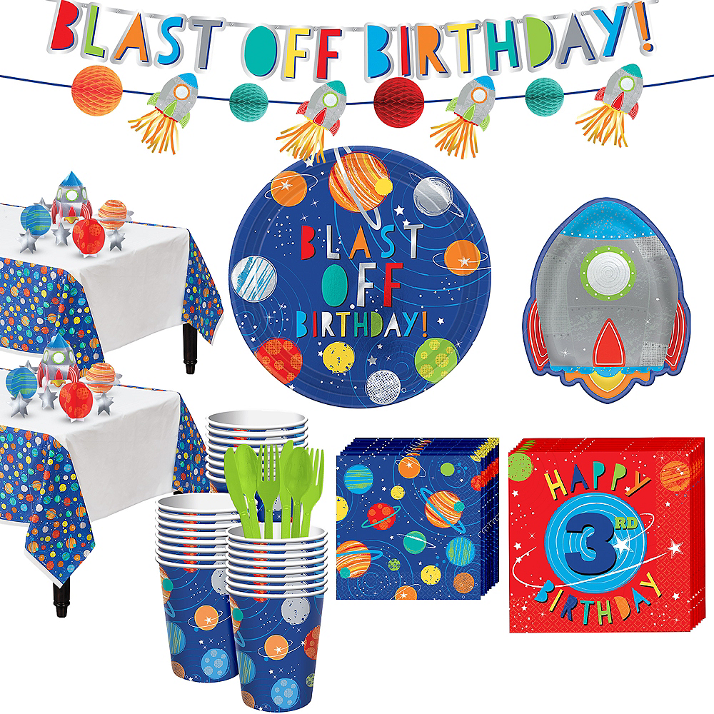 Blast Off 3rd Birthday Party Kit for 32 Guests Image #1