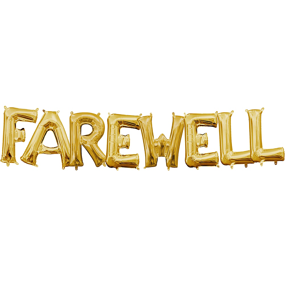 13in Air-Filled Gold Farewell Letter Balloon Kit Image #1
