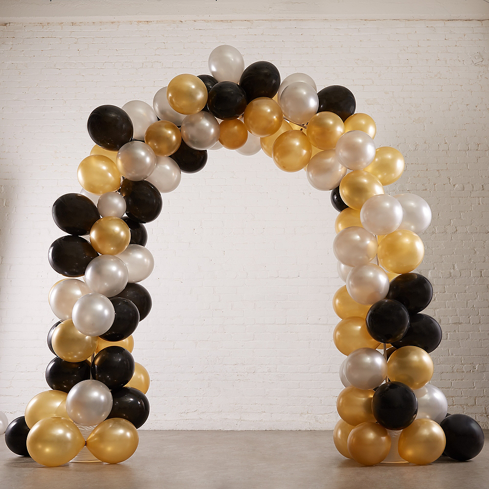 Air-Filled Black, Gold & Silver Balloon Arch Kit Image #1