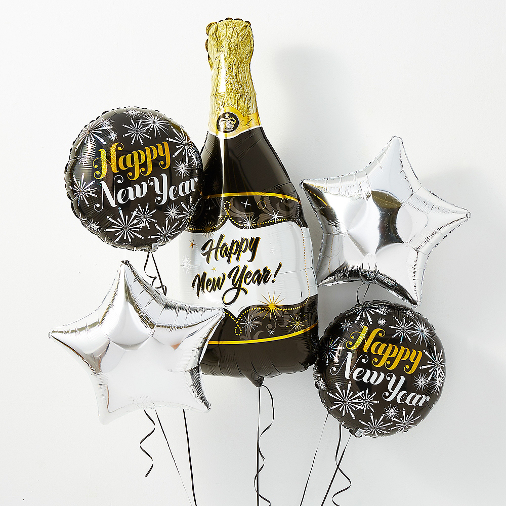 Champagne Happy New Year Balloon Kit with Balloon Weight Clip Image #1