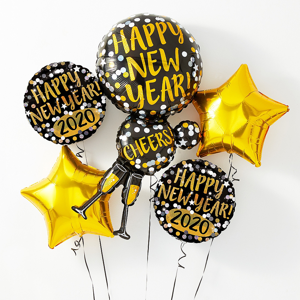 Champagne Glass Happy New Year Balloon Kit with Balloon Weight Clip Image #1