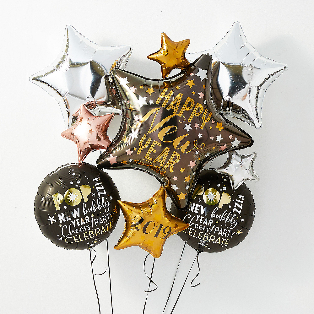 Champagne Glass Happy New Year Balloon Kit With Balloon Weight Clip