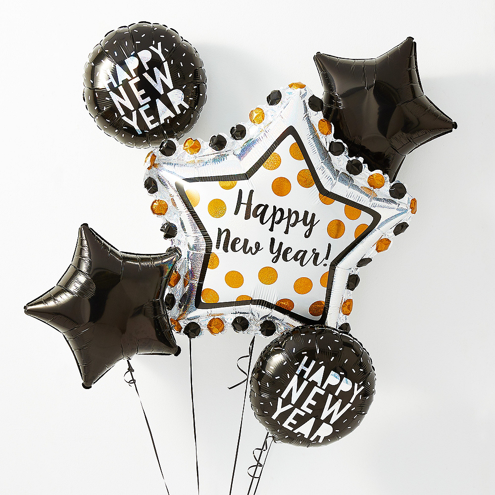 Black, Gold & Silver Star New Year Balloon Kit with Balloon Weight Clip Image #1