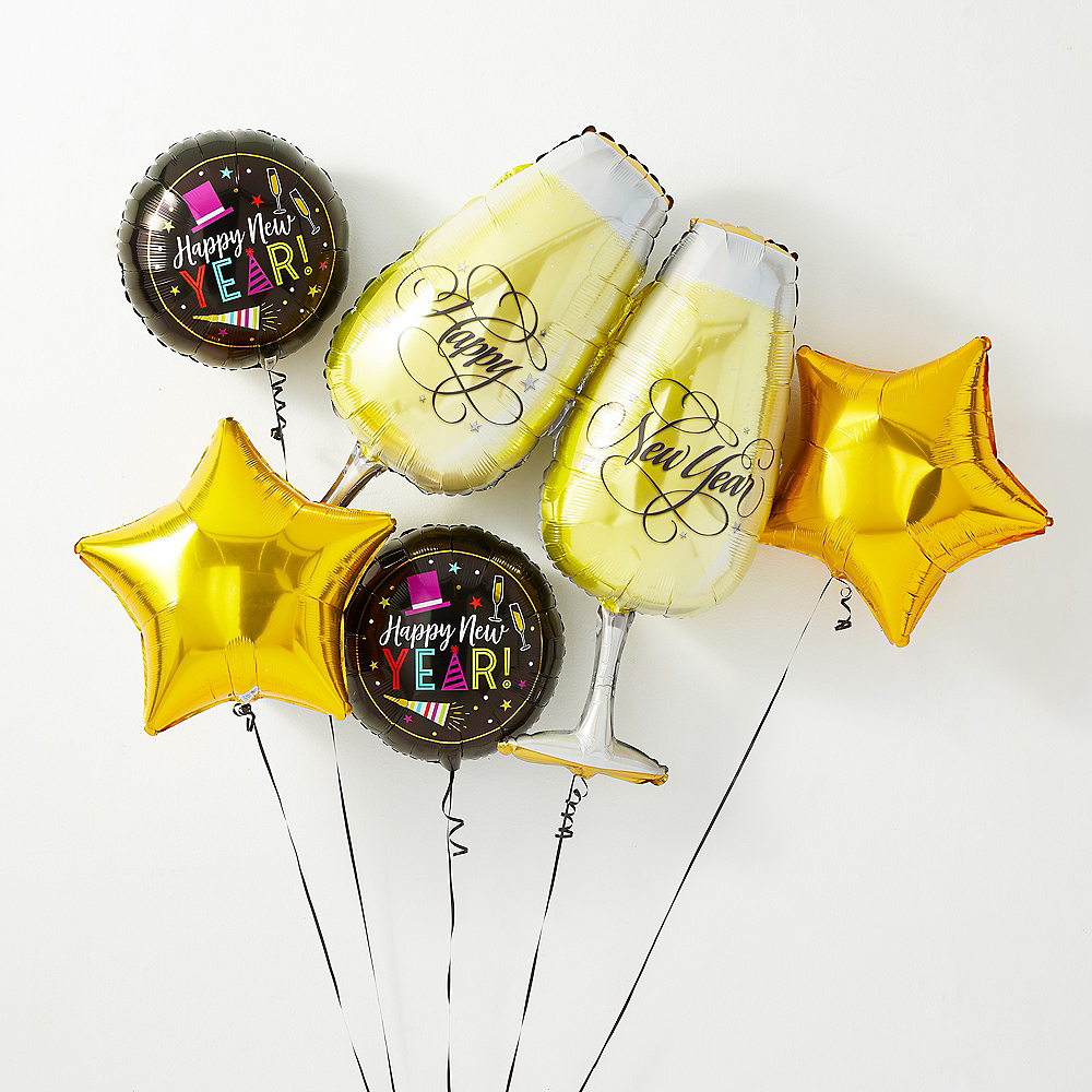 New Year's Toast Balloon Kit with Balloon Weight Clip Image #1