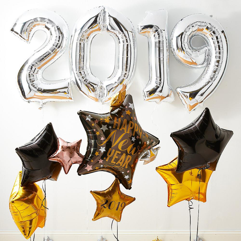 Silver 2019 NYE Stars Balloon Kit Image #1