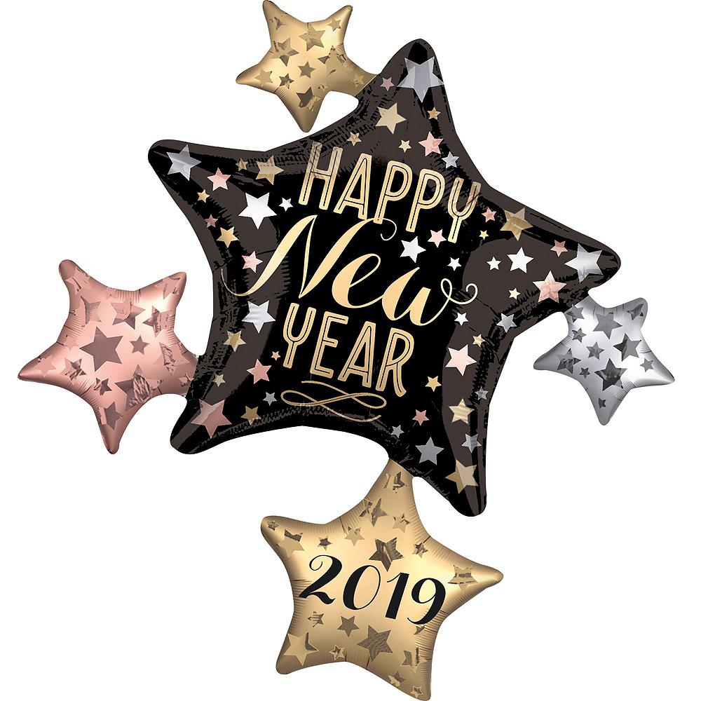 Silver 2019 NYE Stars Balloon Kit Image #2