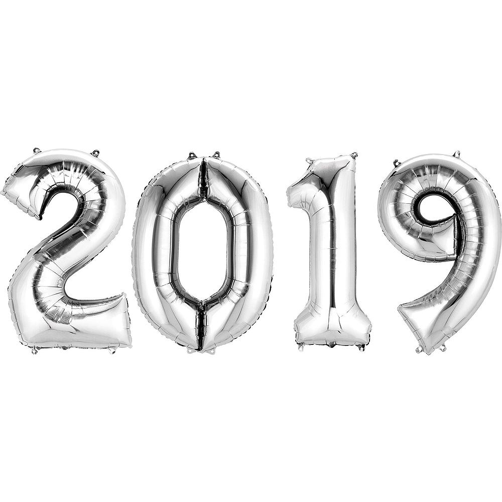 Silver 2019 NYE Stars Balloon Kit Image #3