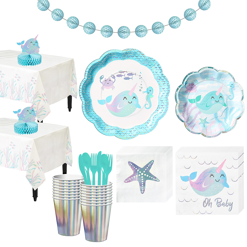 Baby Narwhal Tableware Party Kit for 32 Guests Image #1