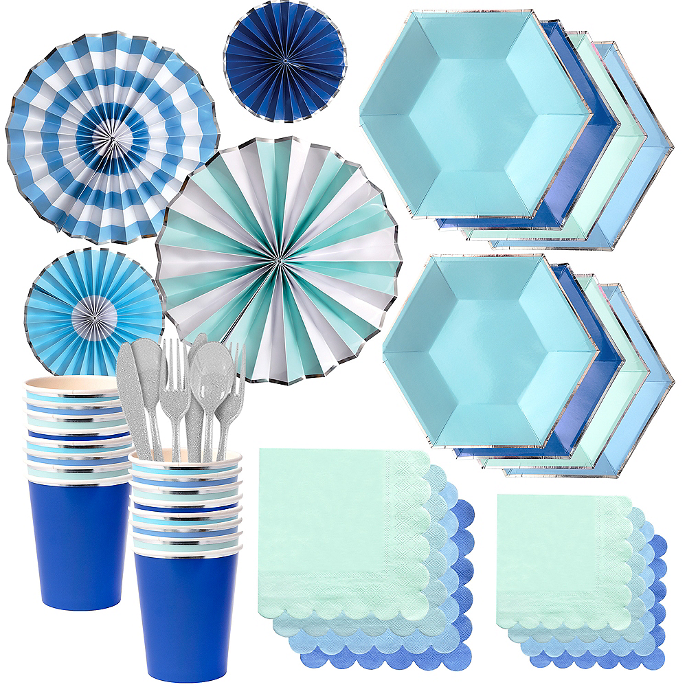 Shades of Blue Party Kit for 16 Guests Image #1