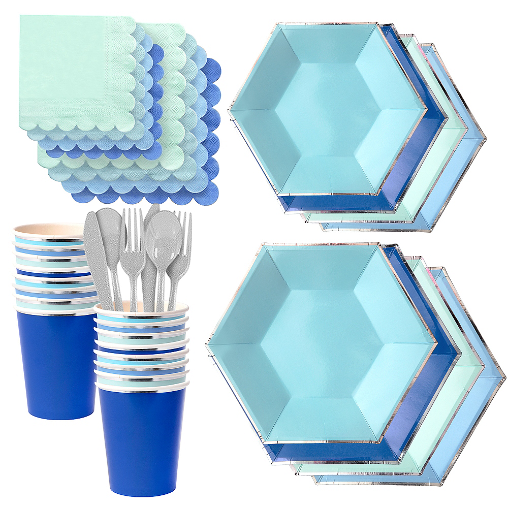 Shades of Blue Tableware Kit for 16 Guests Image #1