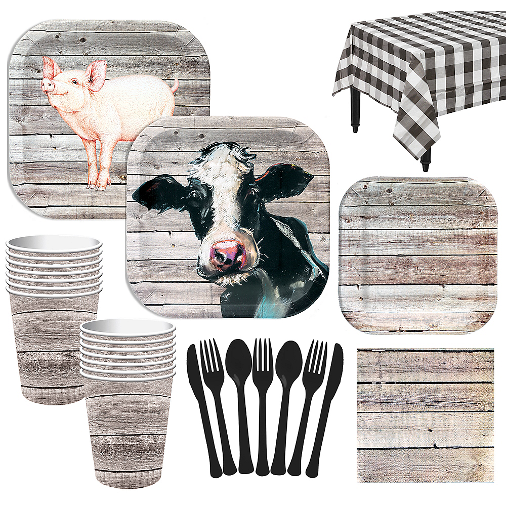 Deluxe Barnwood Tableware Kit for 16 Guests Image #1