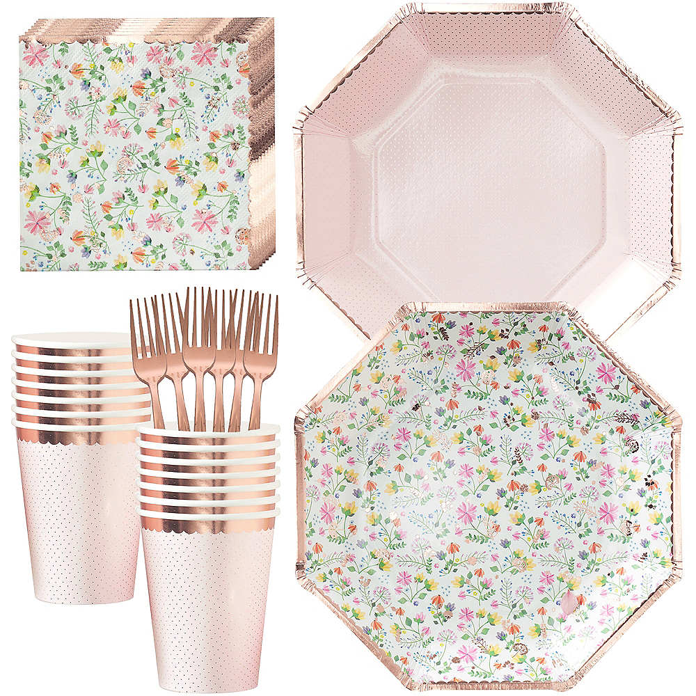 Ginger Ray Floral & Rose Gold Tableware Kit for 16 Guests Image #1