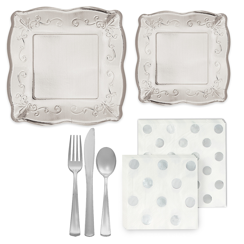 Silver Scroll Tableware Kit for 16 Guests Image #1