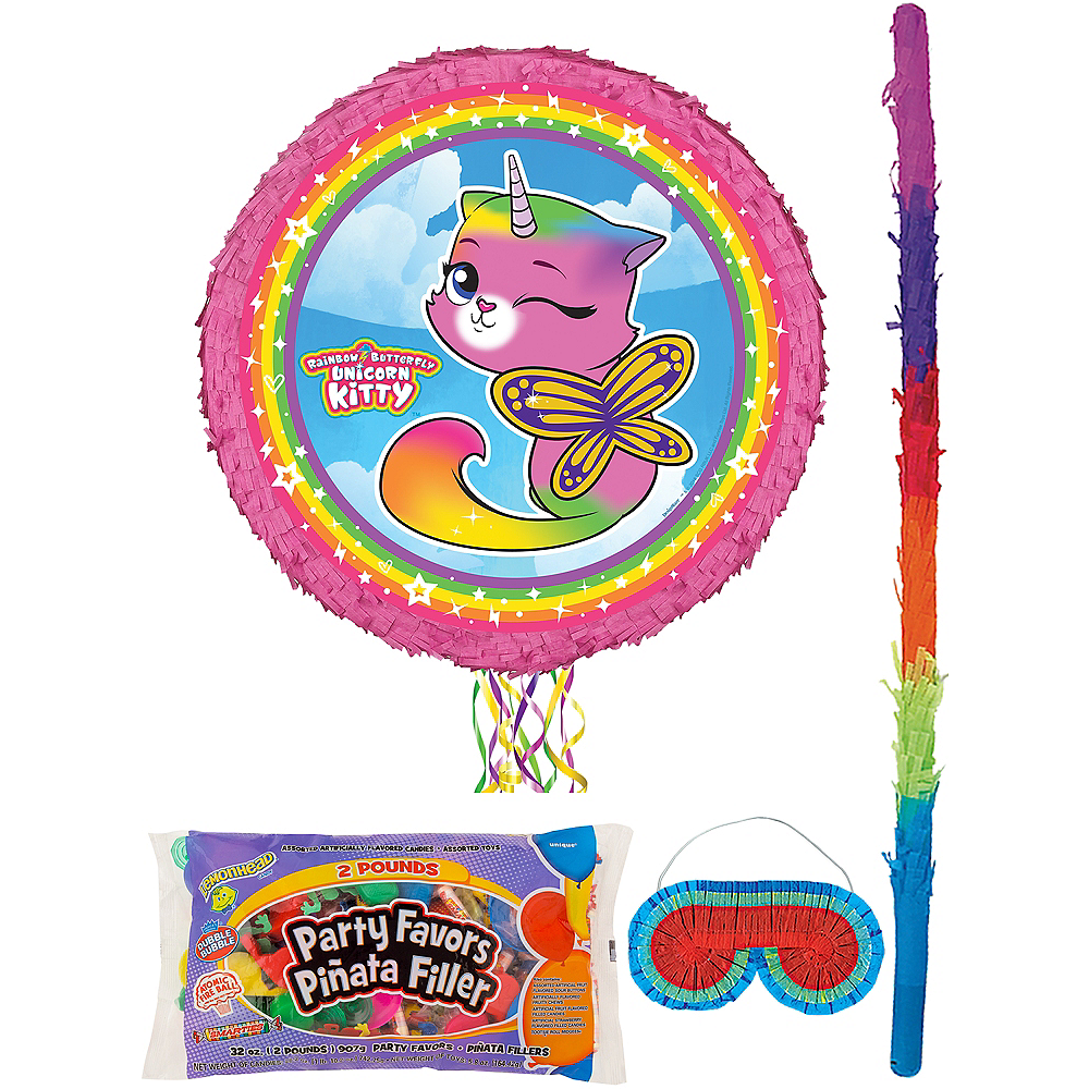 Butterfly Rainbow Kitty Unicorn Pinata Kit with Candy & Favors Image #1