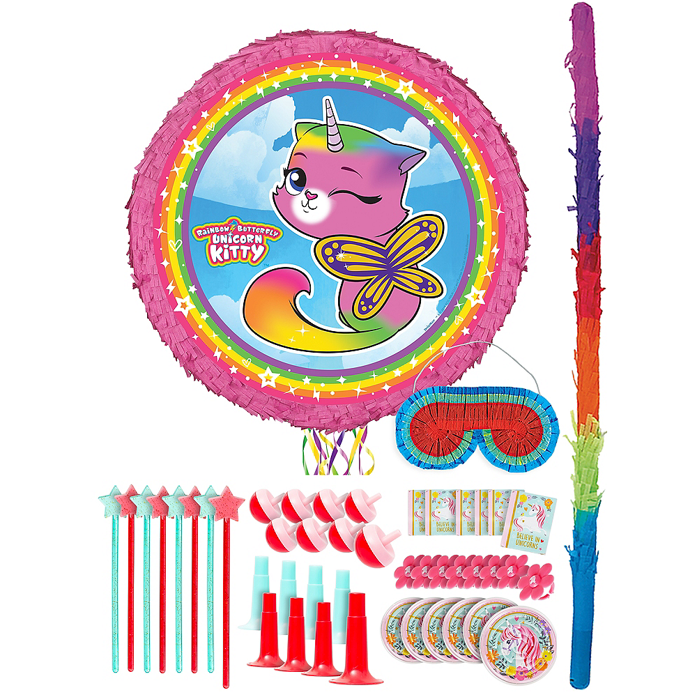 Butterfly Rainbow Kitty Unicorn Pinata Kit with Favors Image #1