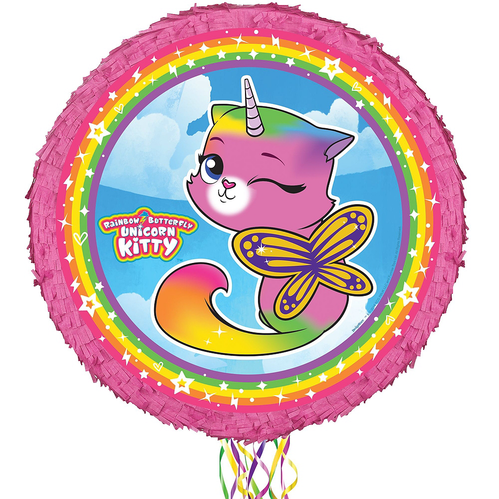 Butterfly Rainbow Kitty Unicorn Pinata Kit with Favors Image #2